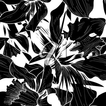Floral seamless pattern. Flower black and white background. Florals engraving texture with flowers. Flourish sketch tiled wallpaper