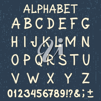 Hand made font. Abstract handwritten alphabet. Original letters and numbers template. Vintage hand drawn typeface with grunge background. Vector illustration.