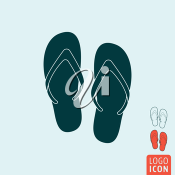 Beach slippers icon. Beach slippers symbol. Flip-flop icon isolated. Vector illustration