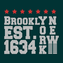 T-shirt print design. Brooklyn New York 1634 vintage t shirt stamp. Badge applique, label t-shirts, jeans, casual wear. Vector illustration.