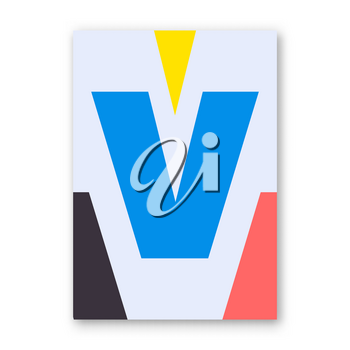 Letter V poster. Cover for magazine, printing products, flyer, presentation, brochure or booklet. Vector illustration