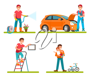 Vector ilustration of father householder isolated flat style. Dad repair machine, watering plants in garden, makes repairs at home, leisure time with child.