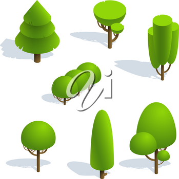 Isometric elements for landscape design isolated  . Set isometric trees on white background. Isometric vector illustration