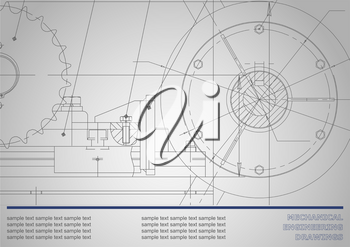 Vector drawing. Mechanical drawings on a dark gray background. Engineering illustration. Corporate Identity