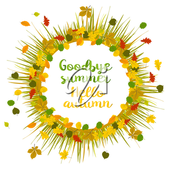 Hello autumn. Goodbye summer. Hand drawn different colored autumn leaves in frame with realistic grass. Sketch, design elements. Vector illustration.