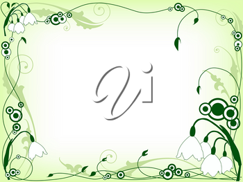 green floral frame with snowdrops