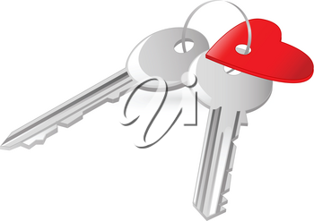 two keys with red heart tag on the white background