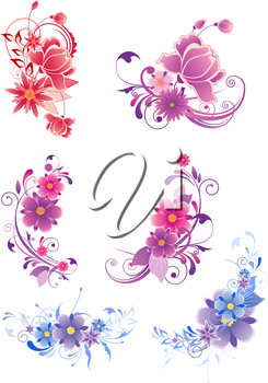floral decorative elements with flowers and ornament
