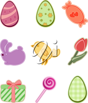 set of colored Easter icons