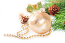 Christmas background with golden decorations and pine branch