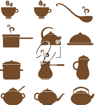 Set of vector various kitchen items icons