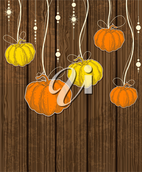 Vector Halloween background with orange pumpkins