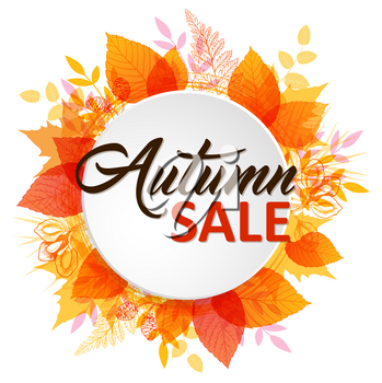 Abstract autumn banner with orange and yellow falling leaves. Autumn sale lettering on a white round background.