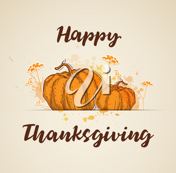 Greeting card for Thanksgiving Day with orange pumpkins and flowers. Vector illustration.