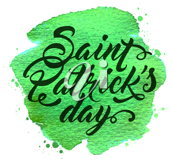 Abstract Green watercolor background with lettering for St. Patrick's Day