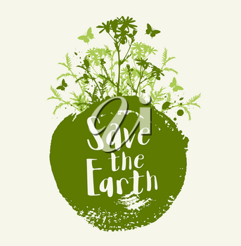 Abstract green background with flowers and butterflies. Ecology concept. Save the Earth lettering.