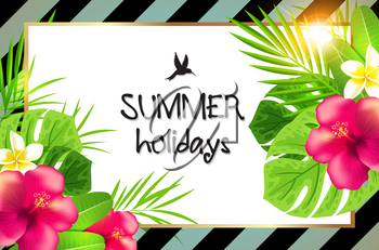 Summer tropical background with green palm leaves and red flowers. Summer holiday lettering. Retro striped background.