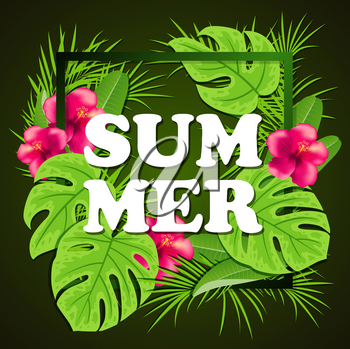 Summer background with red tropical flowers and green palm leaves in frame.