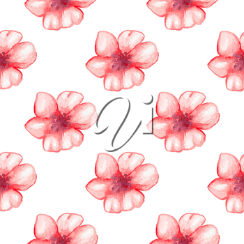 Hand drawn watercolor seamless pattern with red flowers on a white background