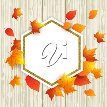 Autumn vector wooden background with orange maple leaves. Abstract golden frame for seasonal fall sale.