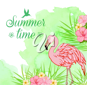 Summer tropical background with palm leaves, pink flamingo and green watercolor texture. Summer time lettering.
