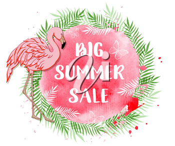 Tropical background for seasonal summer sale with flamingo, palm leaves and pink watercolor texture. Vector illustration