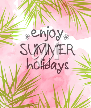 Summer tropical background with green palm leaves and pink watercolor texture. Vector illustration