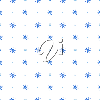 Decorative hand drawn watercolor seamless pattern with blue snowflakes on a white background