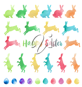 Set of vector watercolor Easter design elements. Easter rabbits and eggs on a white background.