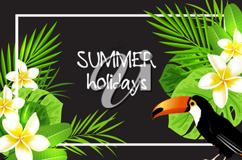 Summer tropical background with flowers, palm leaves and toucan bird. Vector illustration