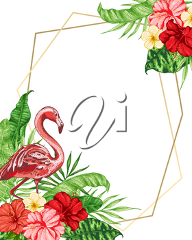 Tropical floral background with pink flamingo, red flowers and green palm leaves. Vector illustration