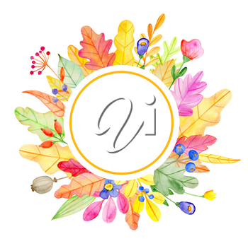 Watercolor autumn floral round banner with flowers and leaves on a white background.  Hand drawn illustration