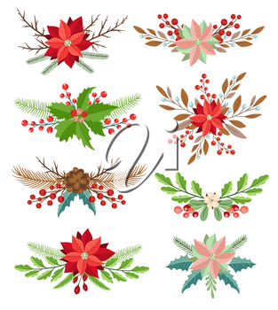 Set of decorative vector winter floral elements. Bouquets for Christmas and new year design