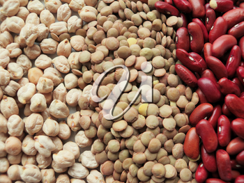 Raw Red Beans, lentils and chickpeas Background. healthy food
