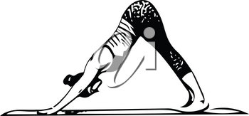 Abstract illustration of Beautiful sporty fit yogini woman practices yoga