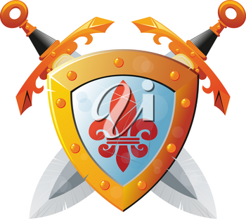 Beautiful knight shield with two crossed swords on white background
