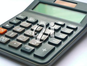 Close up of an solar calculator on white background.
