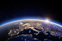 World - Europe. 3D Rendering. Stars my own photo. Elements of this image furnished by NASA