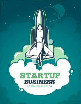 Startup vector grunge vintage 60s poster with rocket, spaceship launch. Business staart up banner, illustration of creative template poster start up rocket