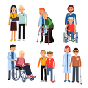 Disabled people group or hospital patients and helping man. Vector illustration isolate on white background. Help disabled patient in wheelchair
