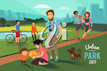 Outdoor activities in urban park. Happy family with kid, runners couple, boy and girl near the lake and summer trees. Vector illustration background