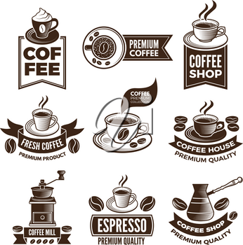 Monochrome coffee labels in retro style. Vector illustrations set with place for your text. Premium coffee classic emblem, espresso beverage