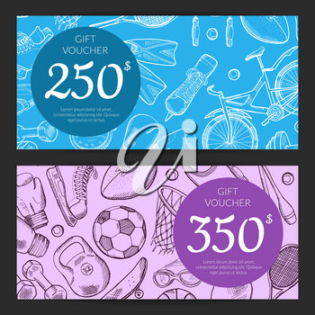 Vector hand drawn contoured sports equipment gift card or voucher templates illustration