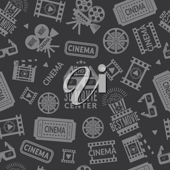 Cinema pattern. Seamless background with symbols of cinema and films production. Vector cinema production film, camera and entertainment background illustration