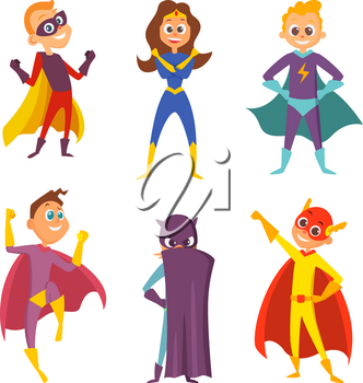 Funny childrens. Superheroes boys and girls in action poses. Cartoon characters set isolate on white. Superhero girl and boy in colored costume. Vector illustration