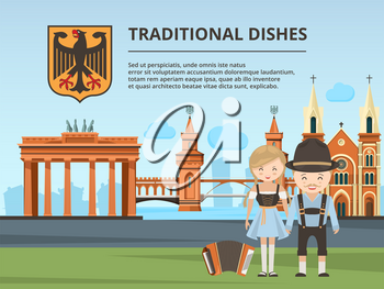 Urban landscape with Germany landmarks and peoples. Vector germany building architecture, city landscape europe illustration