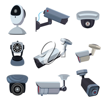 Security cameras. Cctv systems video control, looking and surveillance, monitored guard. Vector illustration