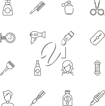 Haircut icon. Beauty salon hairstyle steaming and washing cutting tools scissors comb hairdryer vector thin simple pictures. Illustration of equipment icons for salon hair, comb and shampoo