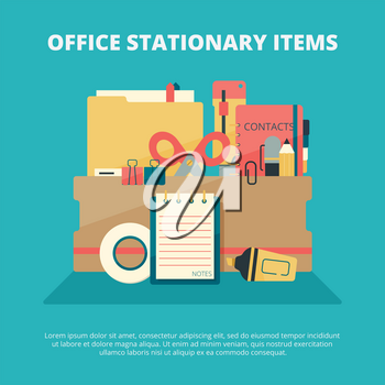 Office stationary collection. Business gadgets manager education supply folder paper book pen pencil stapler vector composition. Stationery office tools, pencil and eraser, tape and pen illustration