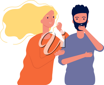 Gossiping male female. Woman speaking with man to ear some secrets whispering vector characters. Illustration female and male, people gossip communication